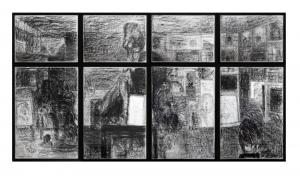 View/Vista, 2012, carboncino su carta, legno e vetro, cm 245x450