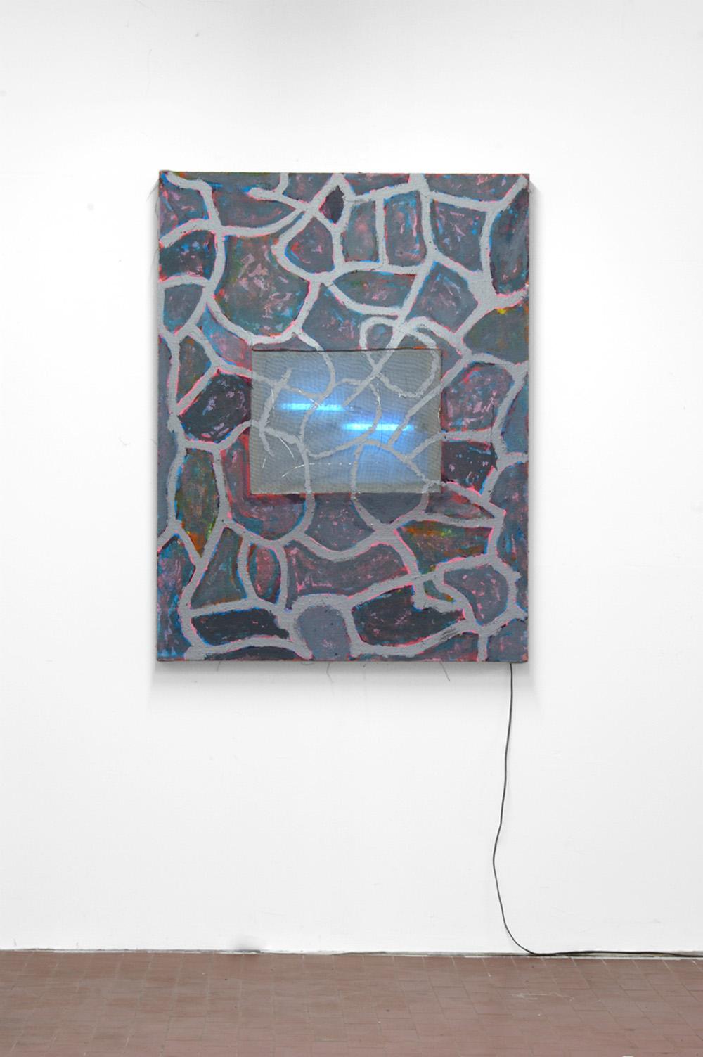 Davide Mancini Zanchi, Astrazione futile che attira le zanzare, 2018, quadro estroflesso, zanzariera e neon, cm 125x95