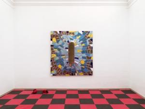 sala II - L'astrazione da prendere a pugni, 2019, tecnica mista su tela estroflessa, sacco da box e guantoni da pugile, cm 210x200x40
