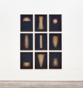 Marco Tirelli, Senza titolo, 1990, tecnica mista su tela, cm opera composta da 9 parti di cm 70x50 ciasc. (cm 250x180 circa)
