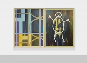 Selbstportrait aus der Serie der grossen Gefühle, 1984/1985, dittico, acrilico su tela, cm 205x310 (cm 200x150 ciasc.)