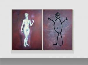Selbstportrait aus der Serie der grossen Gefühle, 1987, dittico, acrilico su tela, cm 150x220