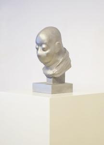 Selfportrait as Kafka at the time he wrote the Metamorphosis, 2014, fusione in alluminio su base di legno laccato, cm 158x38x38