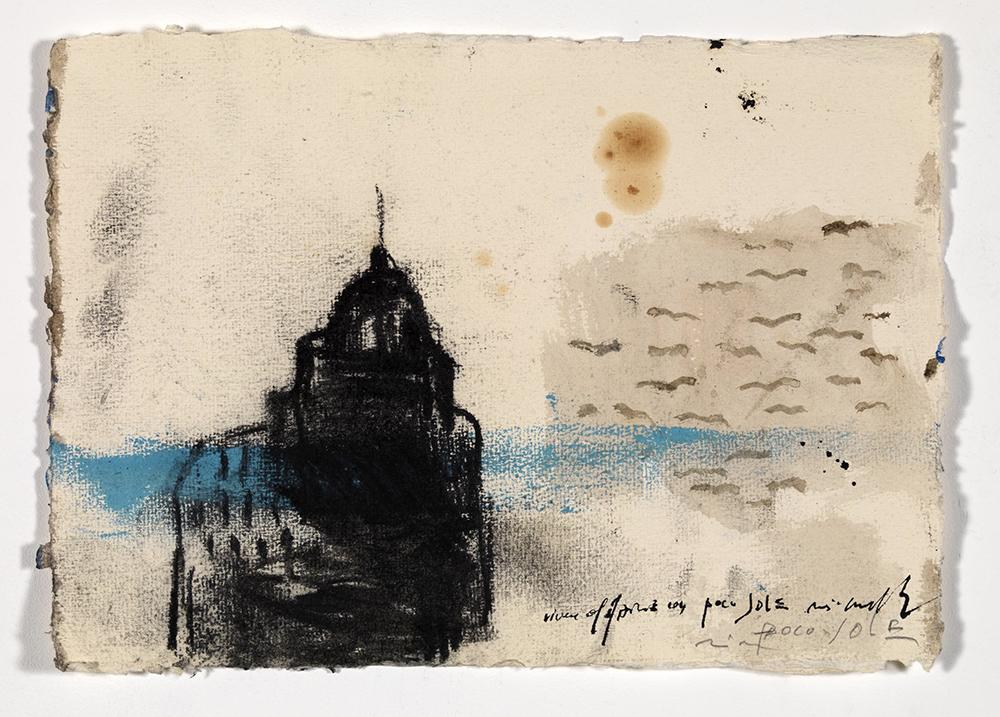 Vivere al mare con poco sole, 2008, olio su carta, cm 20x29