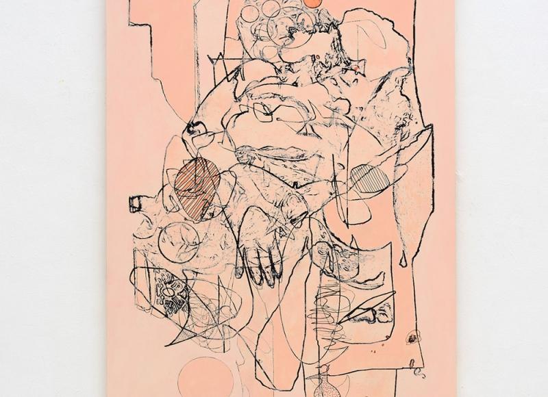 Ridisegnare, 2019/20, acrilico e olio su tavola, cm 160x114