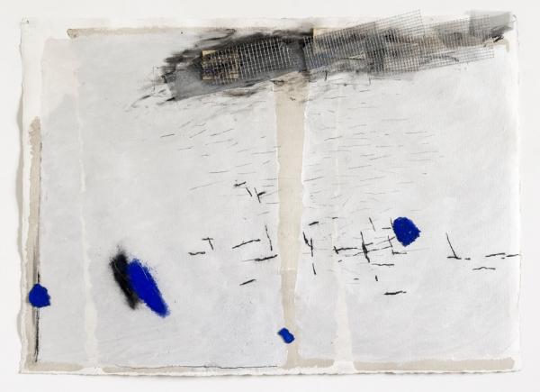 Senza titolo, 2006, tecnica mista, rete e collage su carta, cm 75x104
