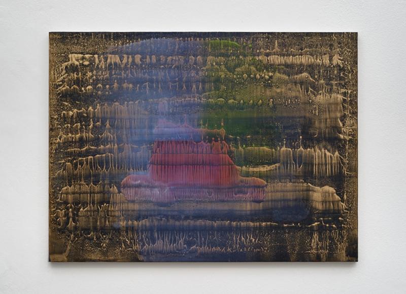 Senza titolo, 2014, olio e polvere d'ottone su carta abrasiva montata su tela, cm 70x94