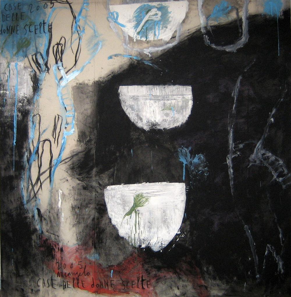 Case delle donne scelte, 2005, tecnica mista su tela, cm 138x130