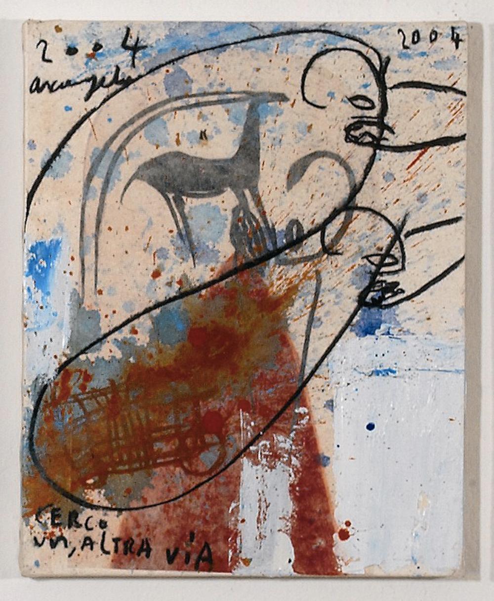 Sanniti, 2004, tecnica mista su carta intelata, cm 30x24