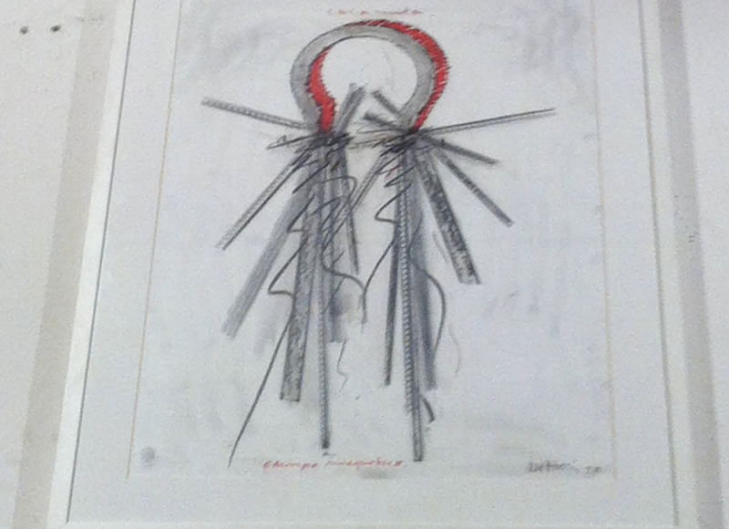 Calamita Campo magnetico, 1993, tecnica mista su carta, cm 60x55