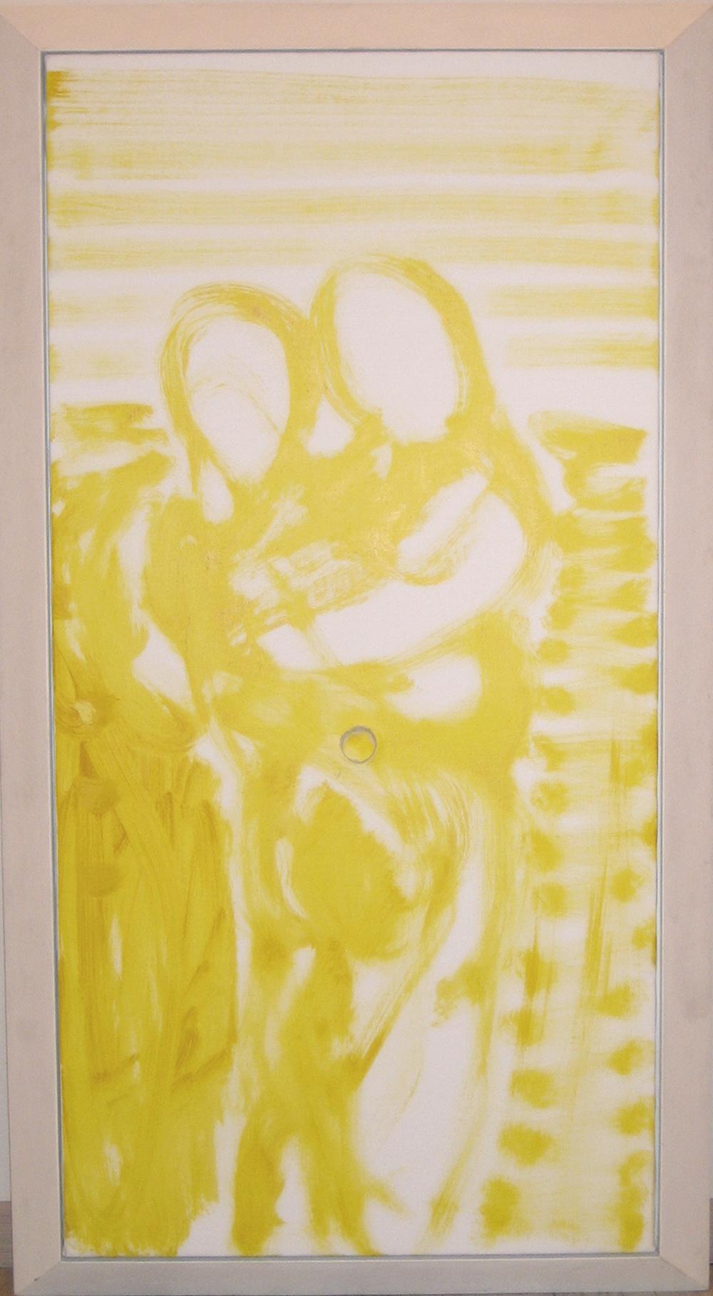 Nodo giallo, 2005, olio e tempera su tela e legno, cm 131x72