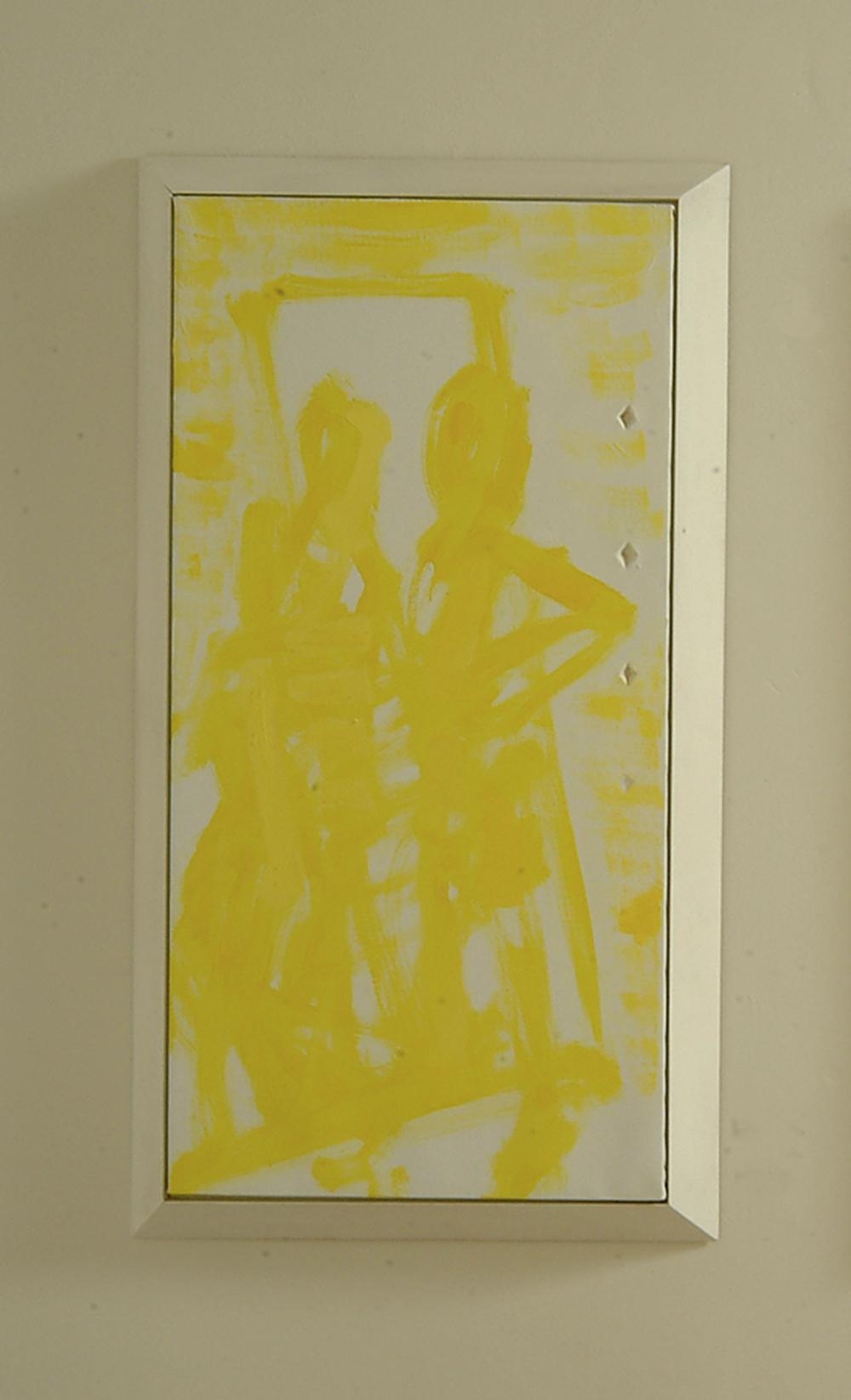 Doppio gioco, 2005, olio e tempera su tela e legno, cm 131x72