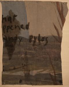 The lotus eaters, 2008, olio di papavero e pigmenti naturali su carta telata antica, cm 118x89