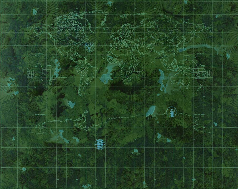 Il giardino d'acqua, 1999-2002, acrilico su tela, cm 200x250