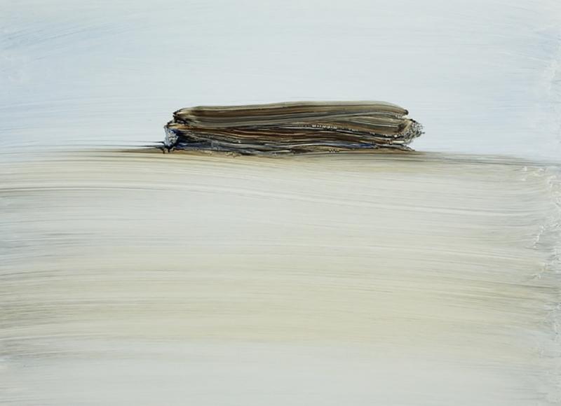 Mirage of a walker architect, 2017, olio su alluminio, cm 60x60