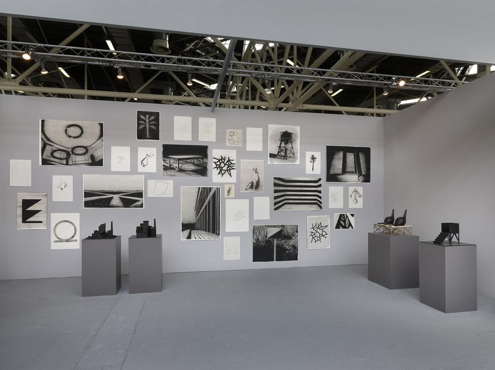 Artefiera 2016 - visione dell'installazione di disegni in stand, Solo show Marco Tirelli