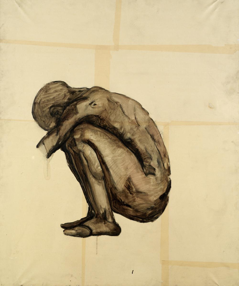L'inizio della fine, 1983, olio su carta intelata, cm 165x140