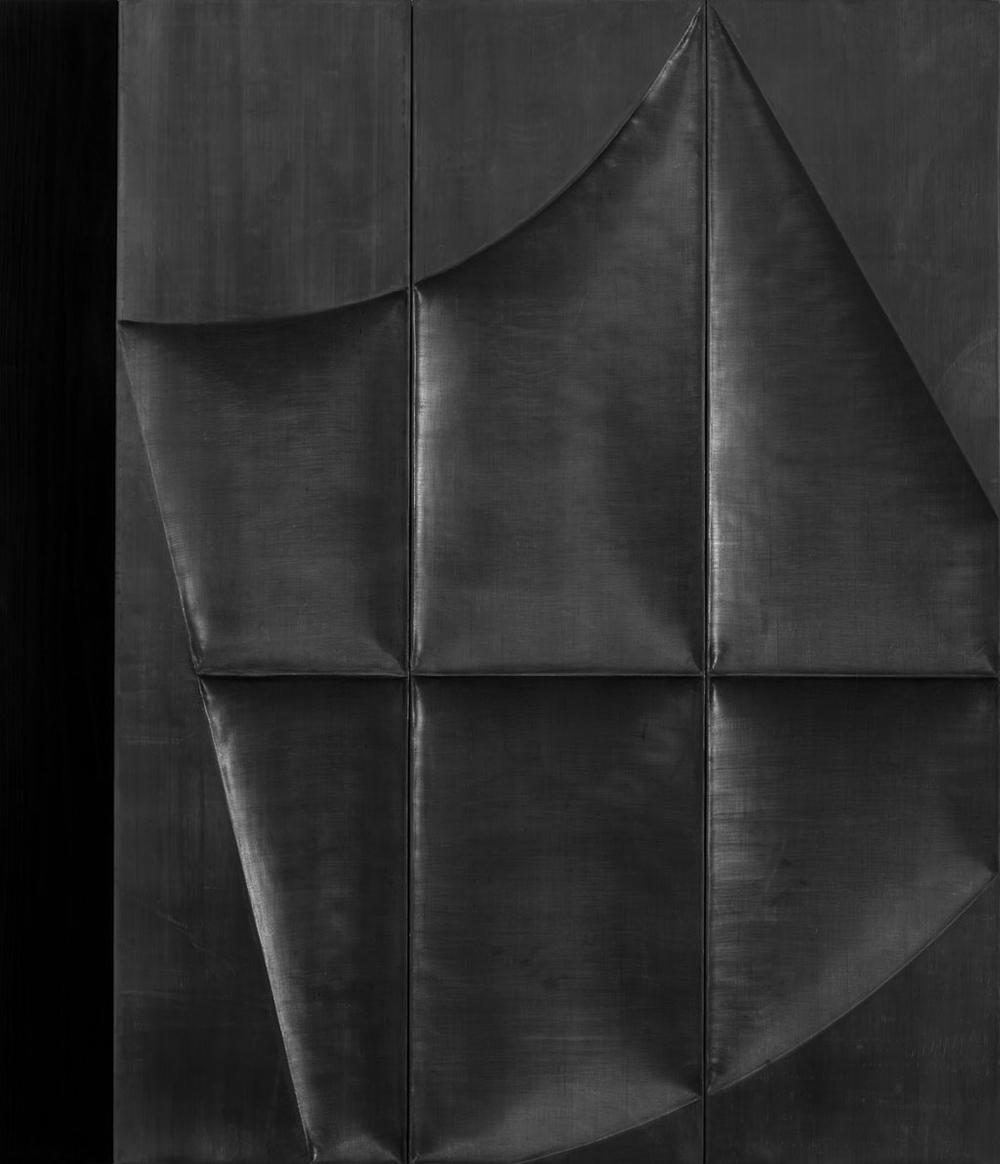 Sveva, 2002, legno combusto e piombo, cm 120x100