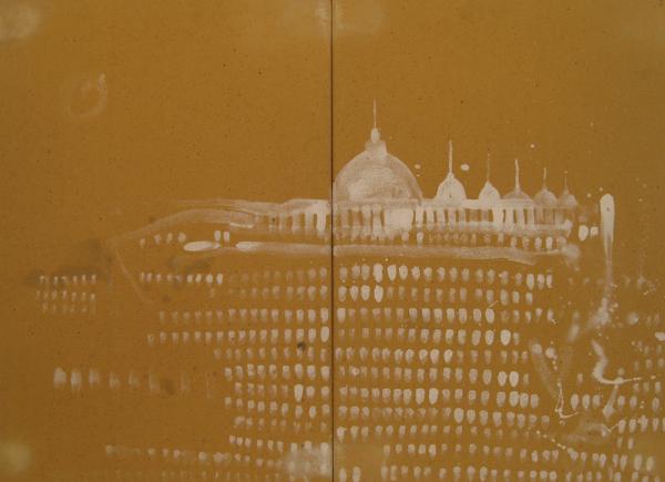 Cattedrale, 2010, dittico in ceramica, cm 65x90x1