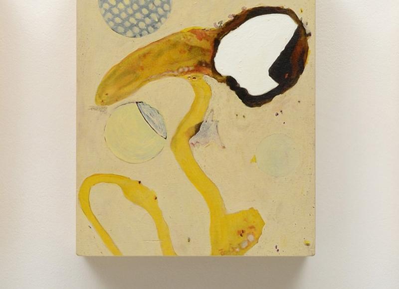 Senza titolo, 2015, acrilico e olio su tavola, cm 31x24,5x6,5