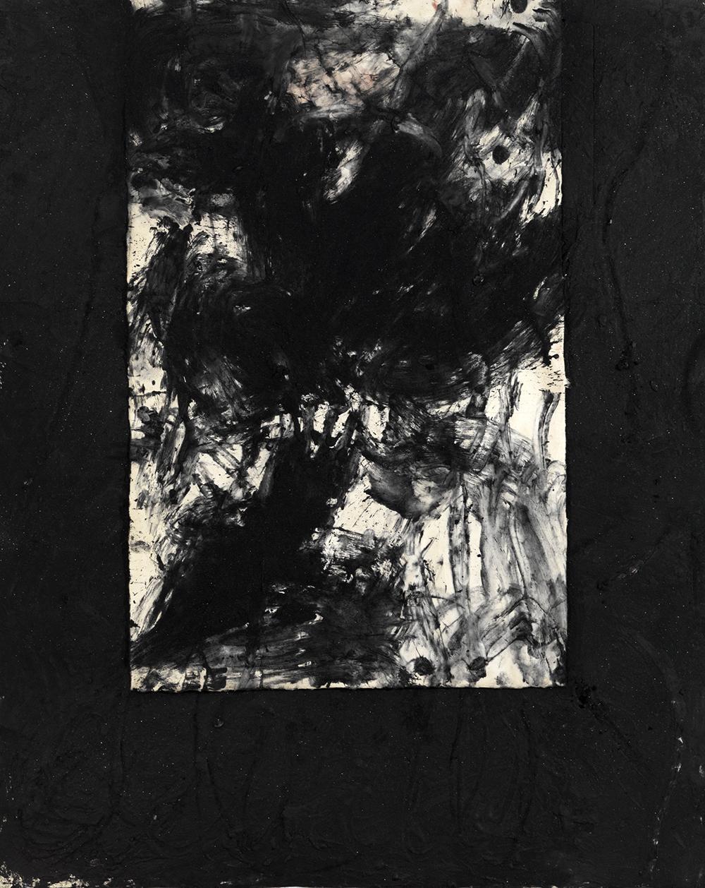 Senza titolo, 2007, sabbia vulcanica, ossido di ferro e carbone su carta, cm 174x140