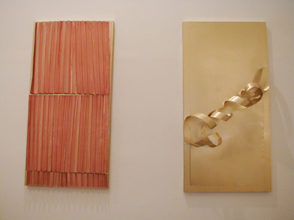 Hidetoshi Nagasawa, Visione di Giovanni, 2003, ottone, rame, pannello di legno, cm 134x67x8