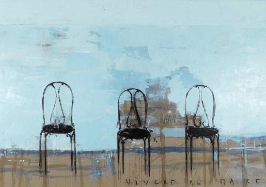 Vivere al mare, 2008, olio su tela, cm 207x315