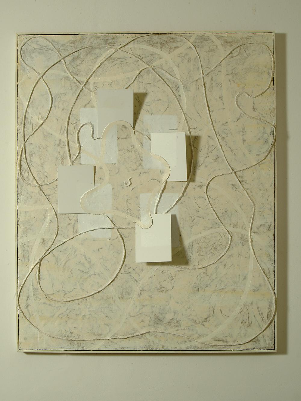 Dentro e fuori, 2005, olio ed encausto su cartoni telati, legno e tela, cm 162x132