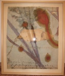 The lotus eaters, 2008, olio di papavero e pigmenti naturali su carta telata antica, cm 68x55