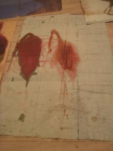 The lotus eaters, 2008, olio di papavero e pigmenti naturali su carta telata antica, cm 202x131
