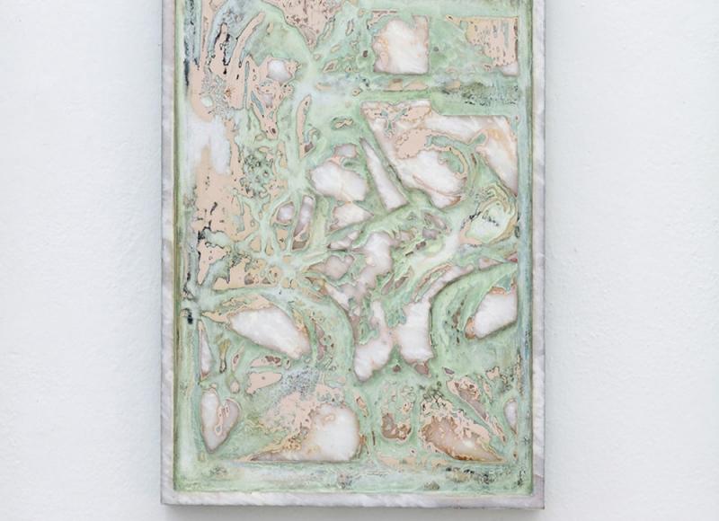 Sette giornate, 2017, olio e smalto su marmo di Carrara, cm 45x30