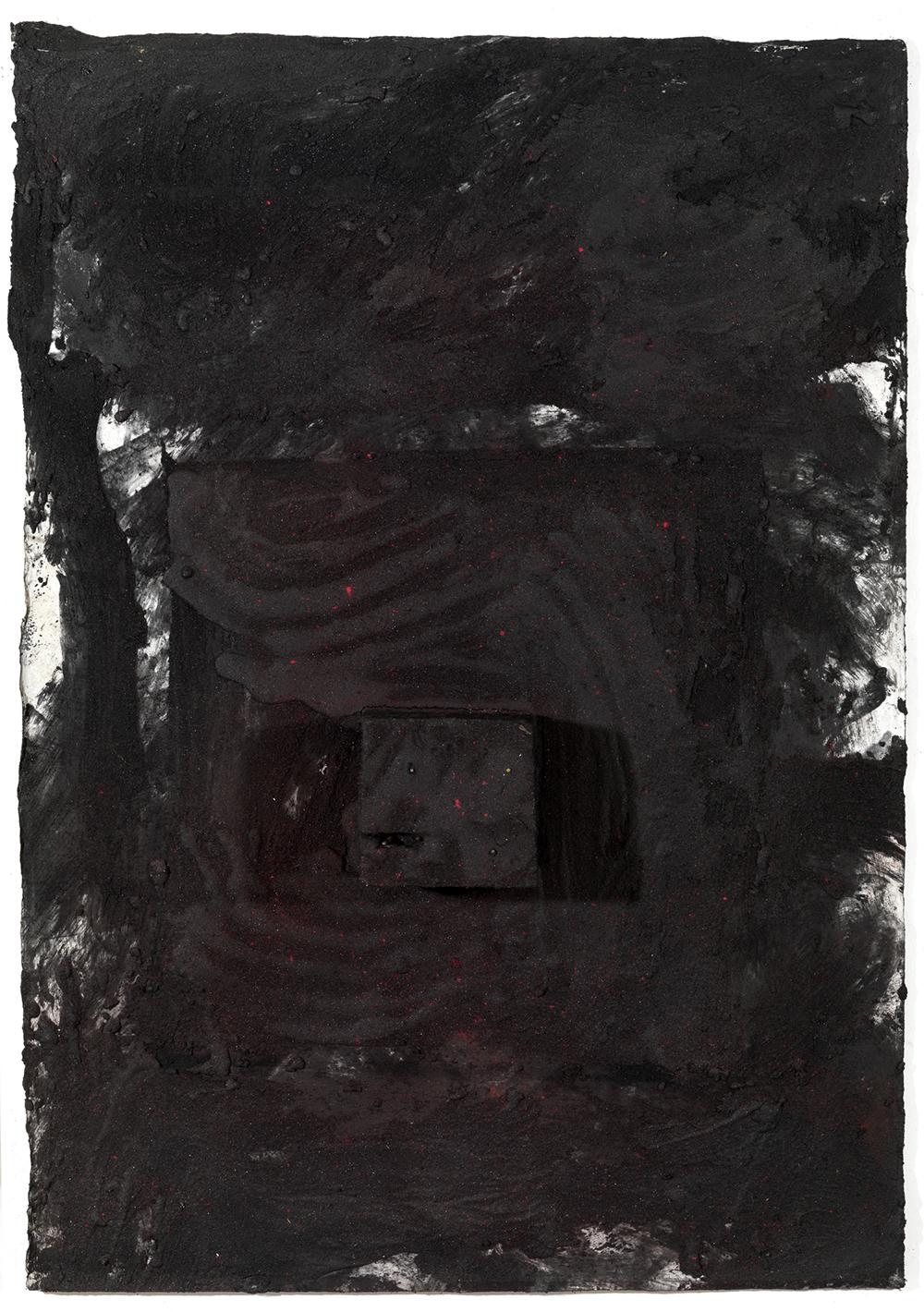 Senza titolo, 2004, sabbia vulcanica, ossido di ferro e carbone su carta, cm 107x75
