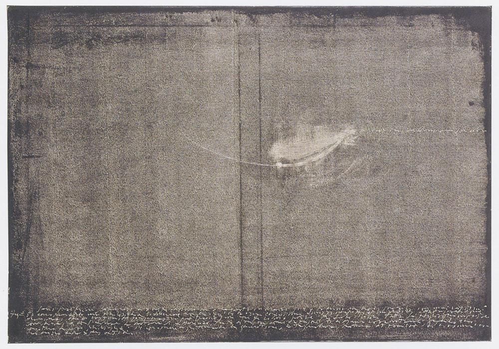 Pour bien partagér.., 2001, abrasione con le dita su dispersione su pvc, cm 70x100