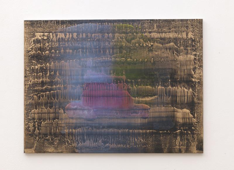 Senza titolo, 2014, olio e polvere d'ottone su carta abrasiva intelata, cm 70x94