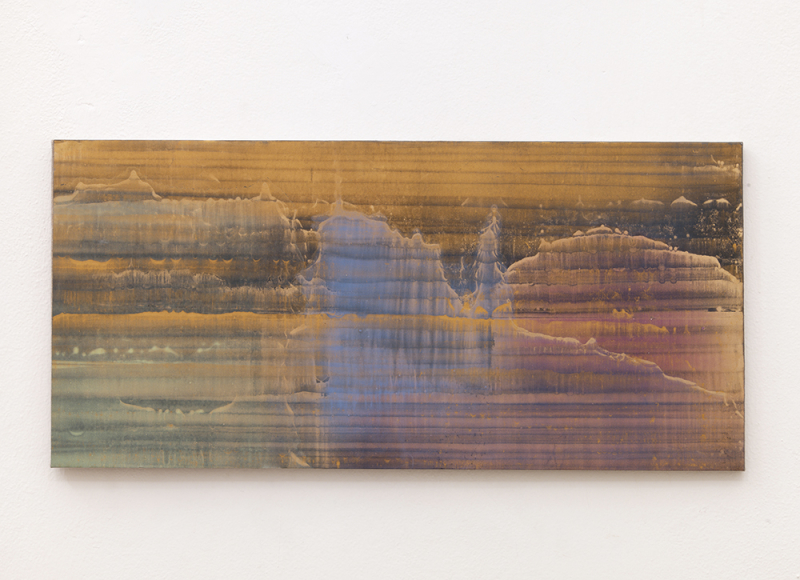 Senza titolo, 2014, olio e polvere d'ottone su carta abrasiva intelata, cm 40x84