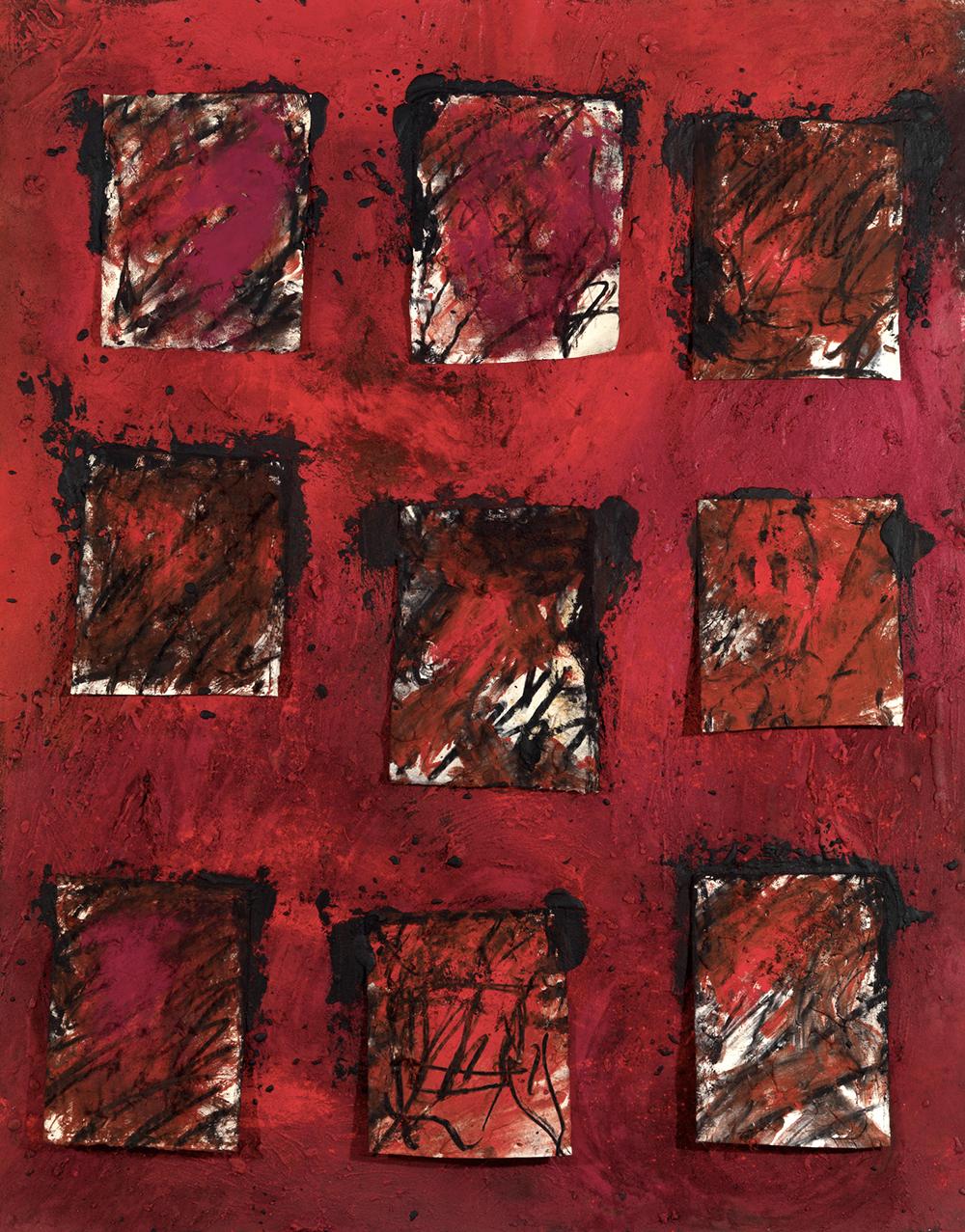 Senza titolo, 2007, sabbia vulcanica, ossido di ferro, carbone e pigmento su carta, cm 174x140