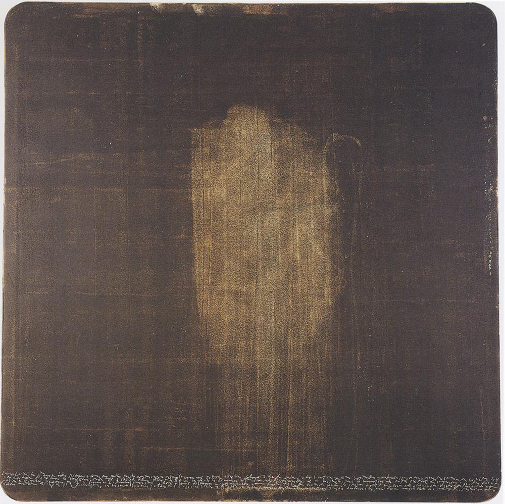 Storia della scimmia coperta, 2001, abrasione con le dita su dispersione su pvc, cm 150x151