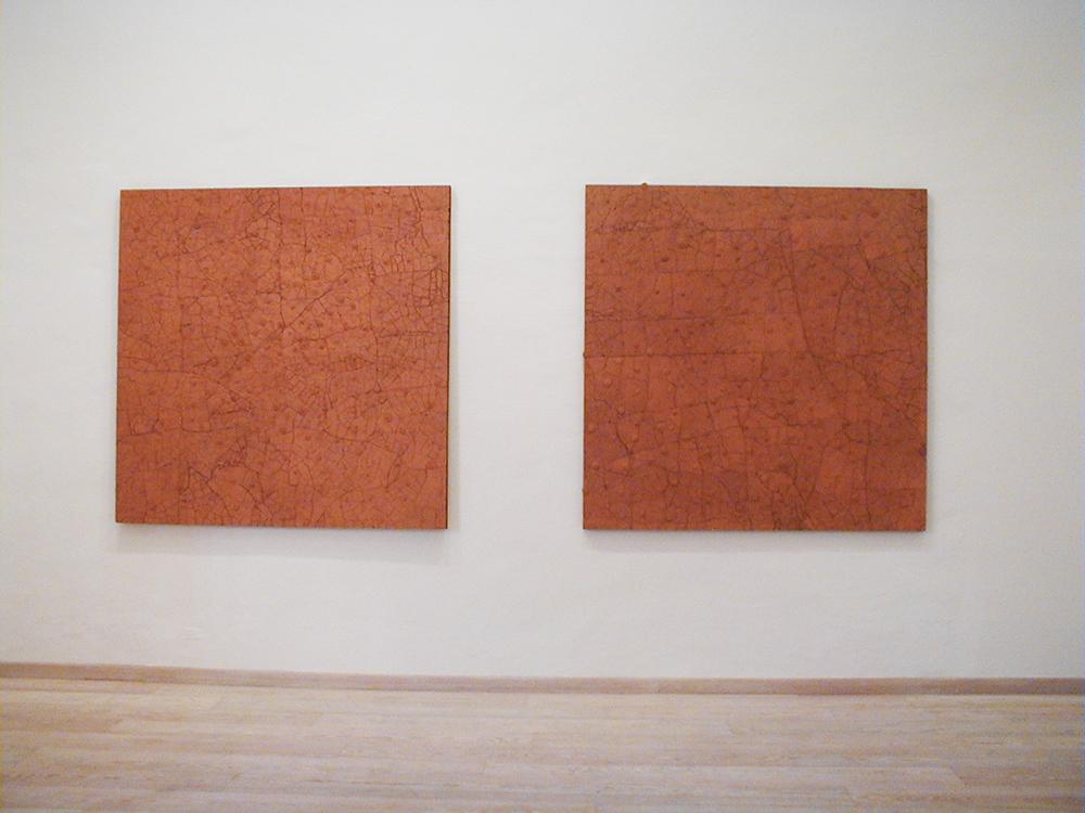 Dune, 2002, terracotta e cera su tavola, cm 160x160