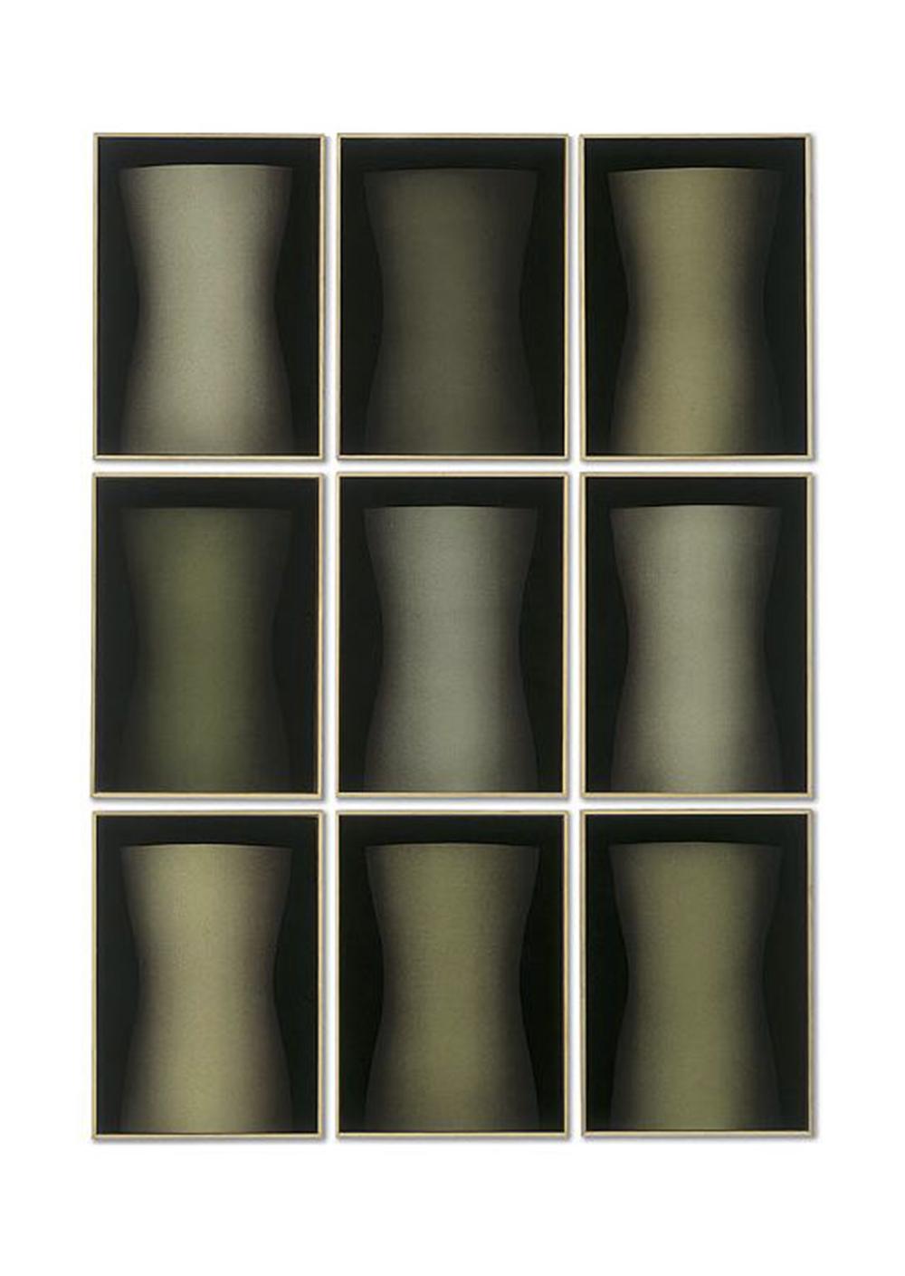 Senza titolo, 1994, tecnica mista su tavola, polittico composto da 9 elementi di cm 122,5x102 ciasc.