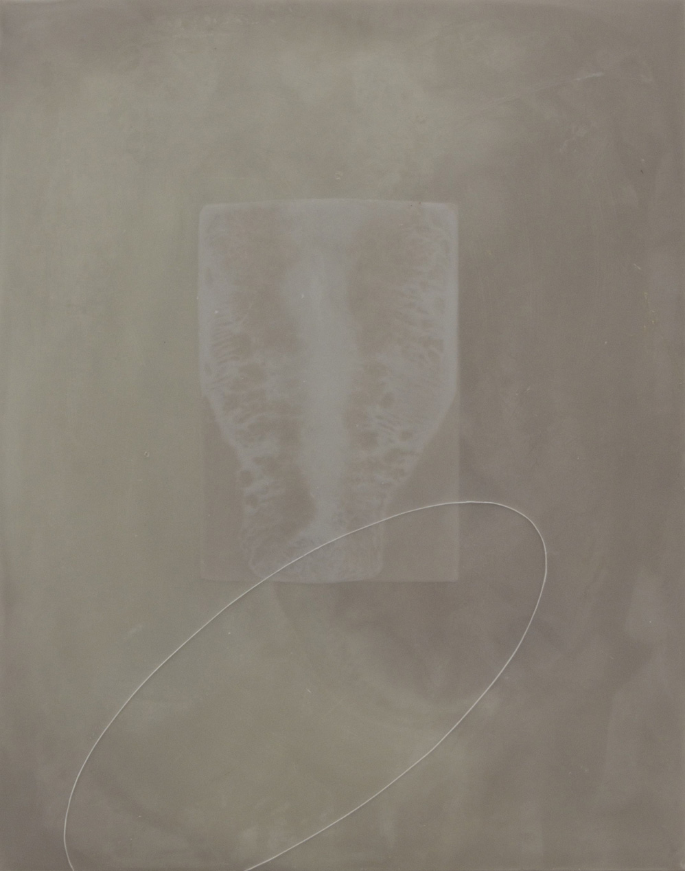 Peter Flaccus, Blue Window, White Ellipses, 2010, encausto su tavola, cm 43x34