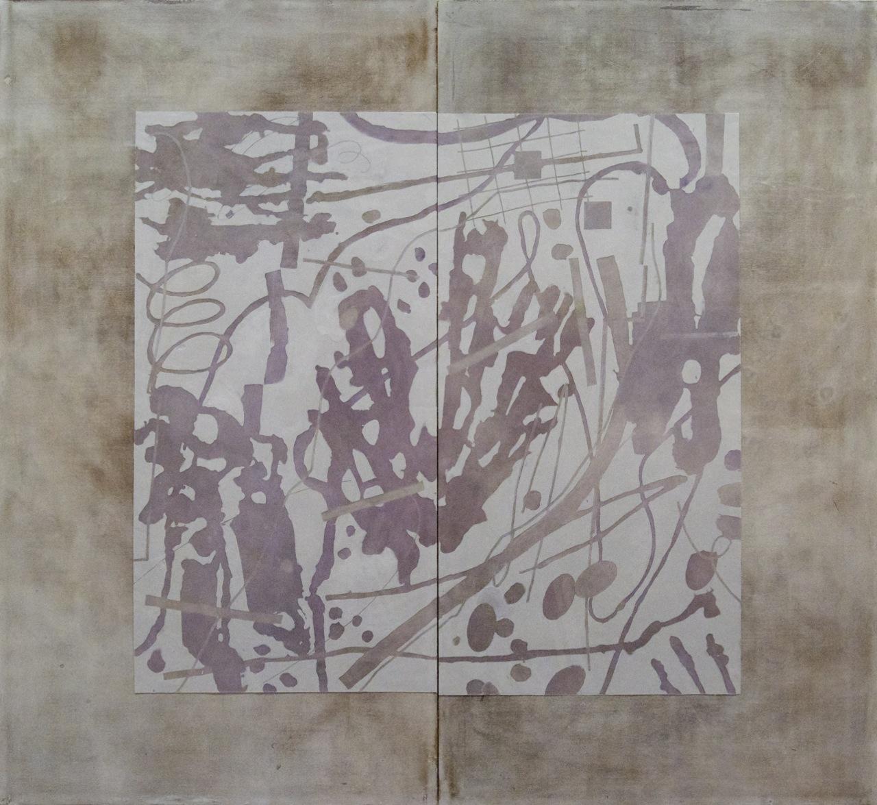 Peter Flaccus, Shadow, 2013, encausto su tavola, cm 183x200