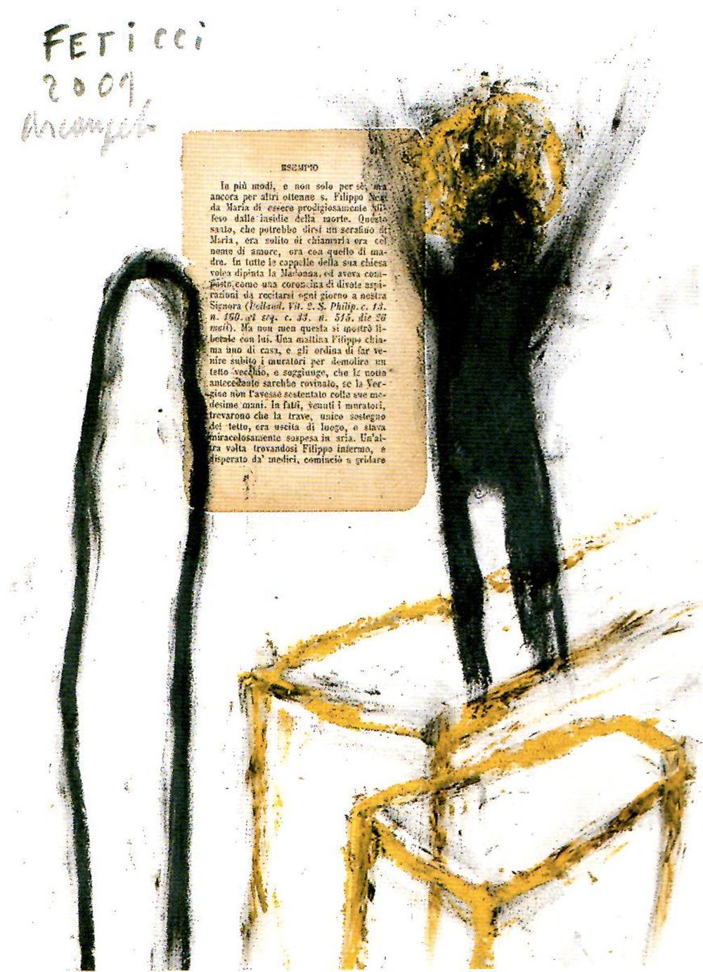 Feticci, 2001, tecnica mista su carta, cm 30x24
