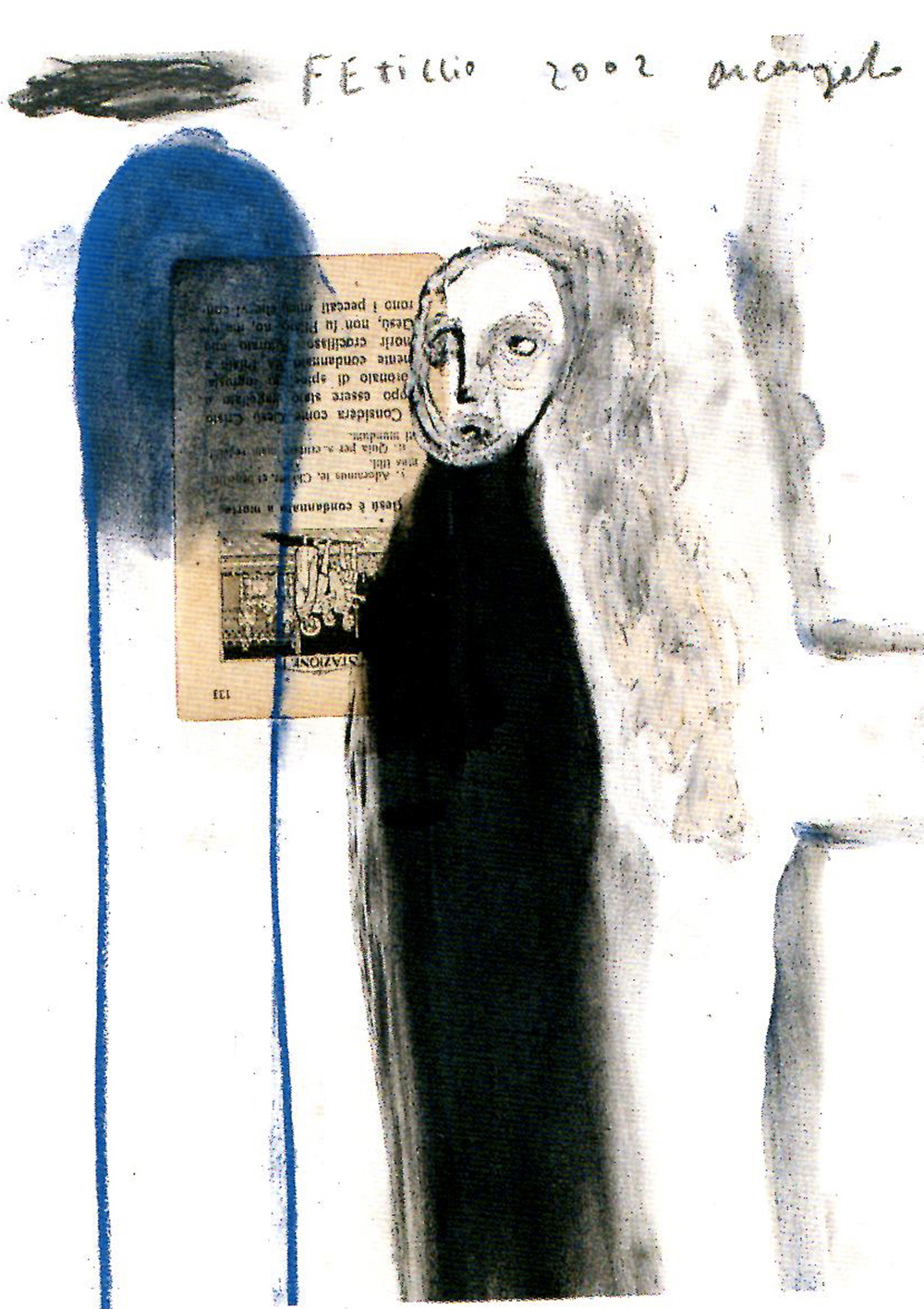 Feticcio, 2002, tecnica mista su carta, cm 32x24