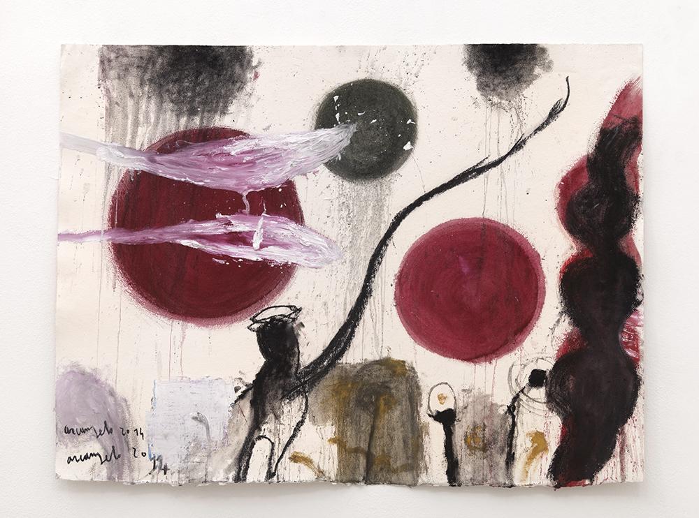 I Sumeri, 2014, tecnica mista su carta, cm 90x118
