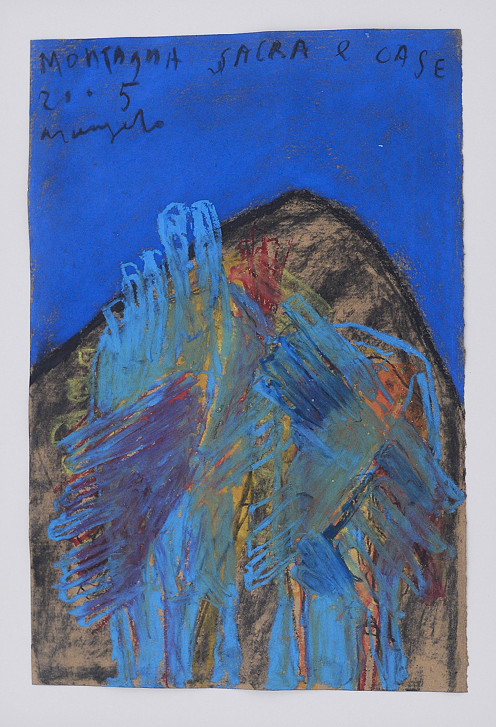 Montagna sacra e case, 2005, tecnica mista su carta, cm 41x27
