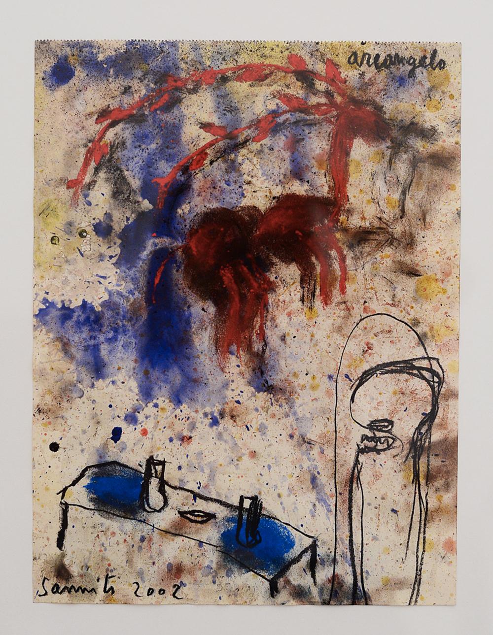 Sanniti, 2002, tecnica mista su carta, cm 31x23