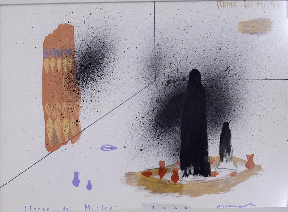 Stanza dei Misteri, 2000, tecnica mista su cartoncino, cm 50x70
