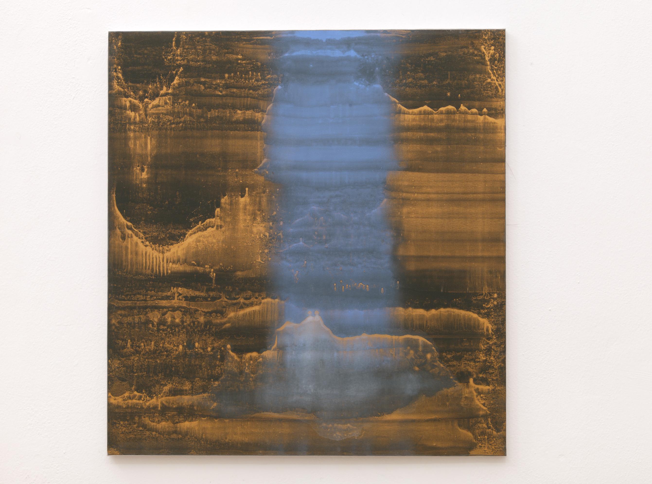 Matteo Montani, Dimora, 2013, olio e polvere d'ottone su carta abrasiva intelata, cm 80x75
