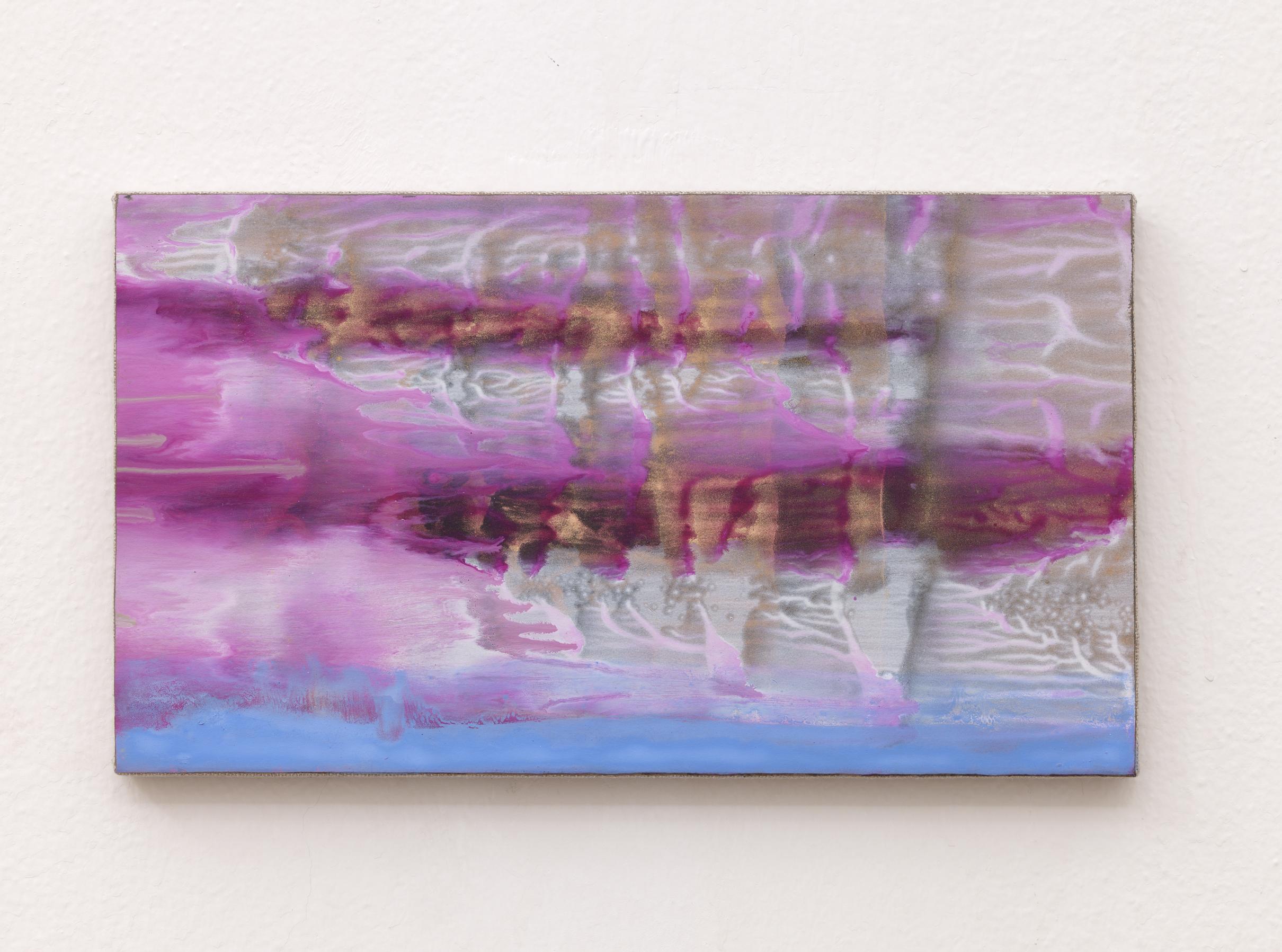 Matteo Montani, Piccolo quadro ventoso, 2014, olio e polvere d'ottone su carta abrasiva intelata, cm 20x35