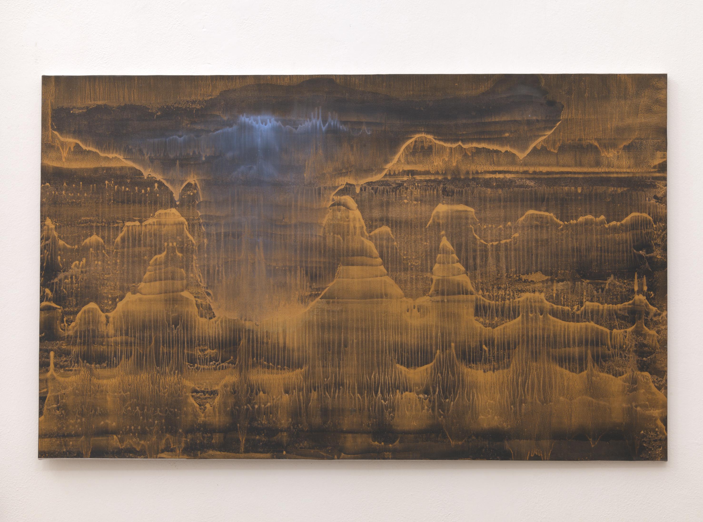 Matteo Montani, Vicino o lontano abiti nei nostri cuori il silenzio, 2014, olio e polvere d'ottone su carta intelata, cm 87x140